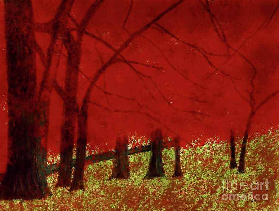 Trees In Red by D Hackett