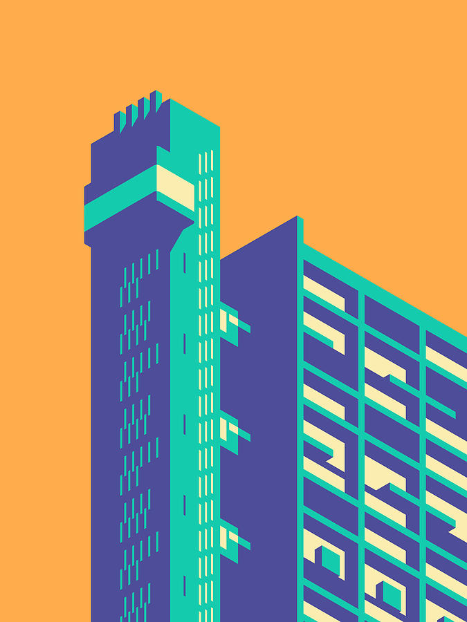 Trellick Digital Art - Trellick Tower London Brutalist Architecture - Plain Apricot by Ivan Krpan