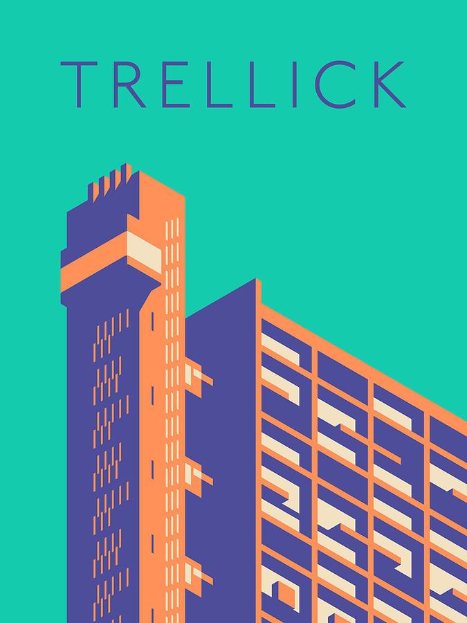 Trellick Digital Art - Trellick Tower London Brutalist Architecture - Text Turquoise by Ivan Krpan