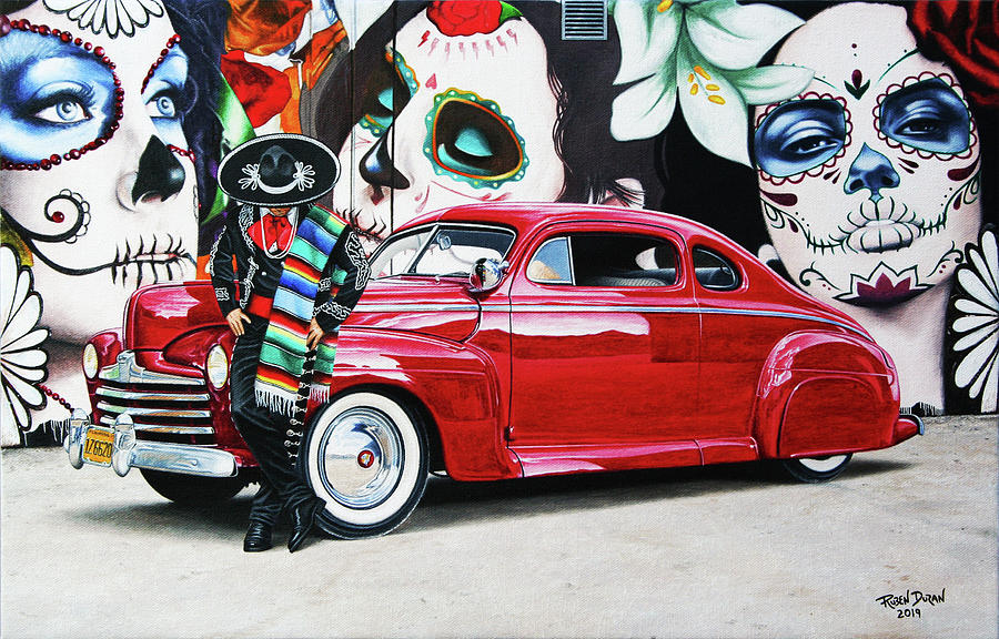 Hot Rod Painting - Tres Flores by Ruben Duran