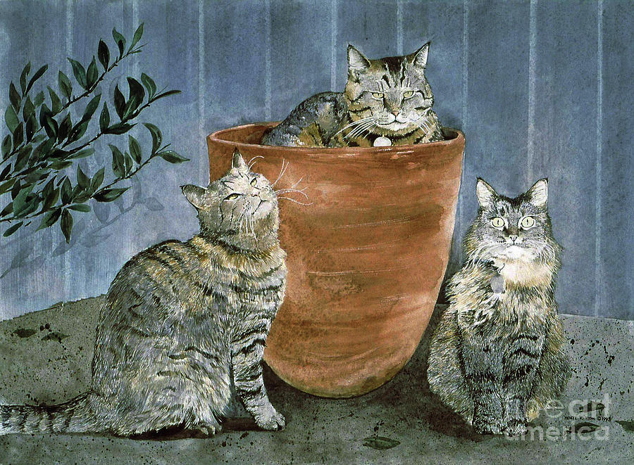 Tres Gatos Painting by Monte Toon