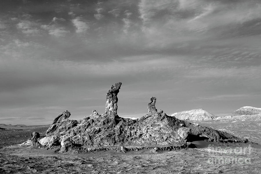 Rock Formation Photograph - Tres Marias Black And White Moon Valley Chile by James Brunker