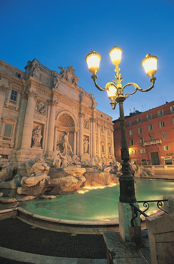 Trevi Fountain At Night, Rome, Italy Photograph by Walter Bibikow