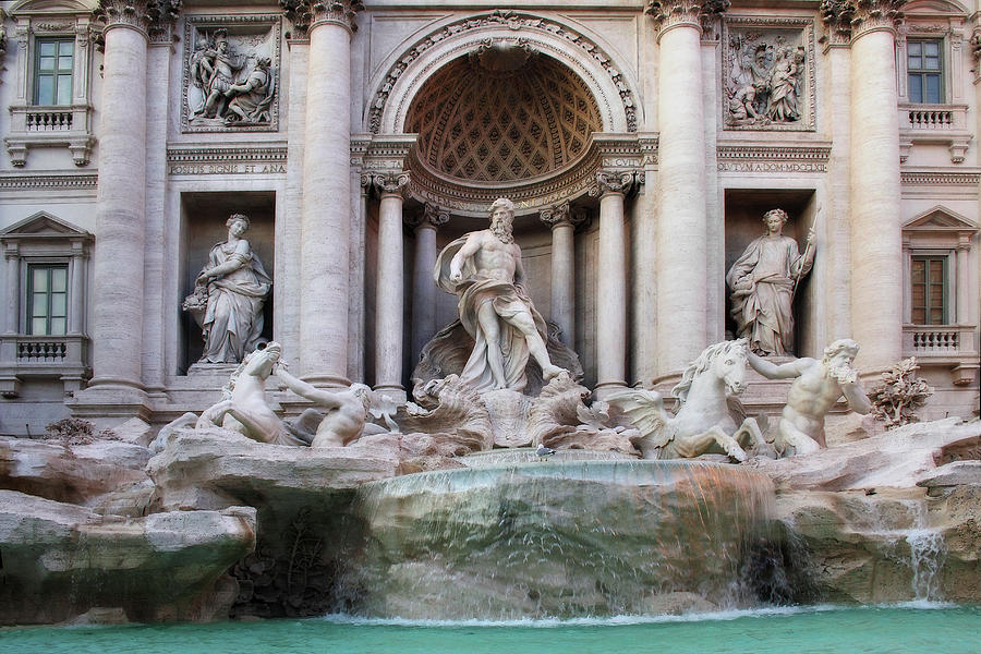 Trevi Fountain or Fontana di Trevi in Rome Italy by Angela Rath