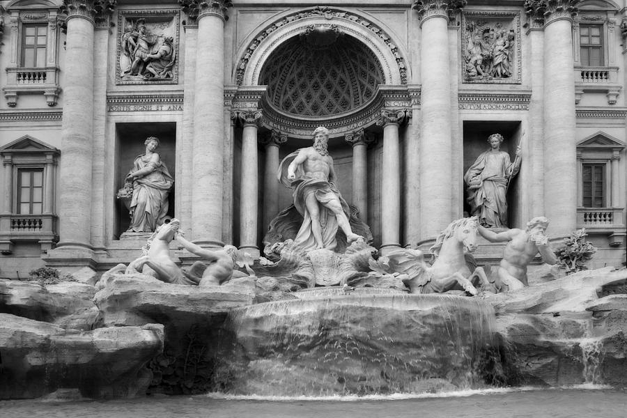 Trevi Fountain or Fontana di Trevi in Rome Italy in Black and White by Angela Rath