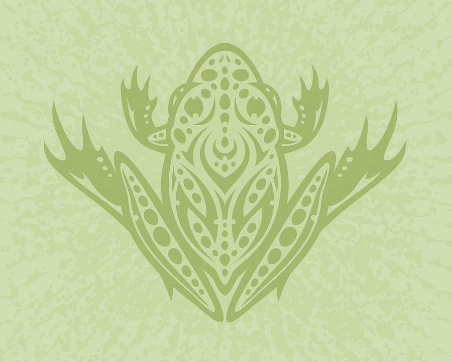 Frog Digital Art - Tribal Leopard Frog - Green by John Schwegel