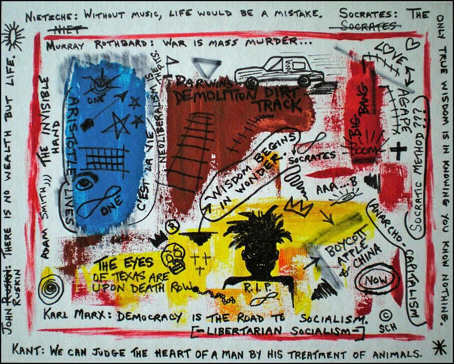 Abstract Painting - Tribute To Basquiat, Philosophy, And Activism by Scott Haley