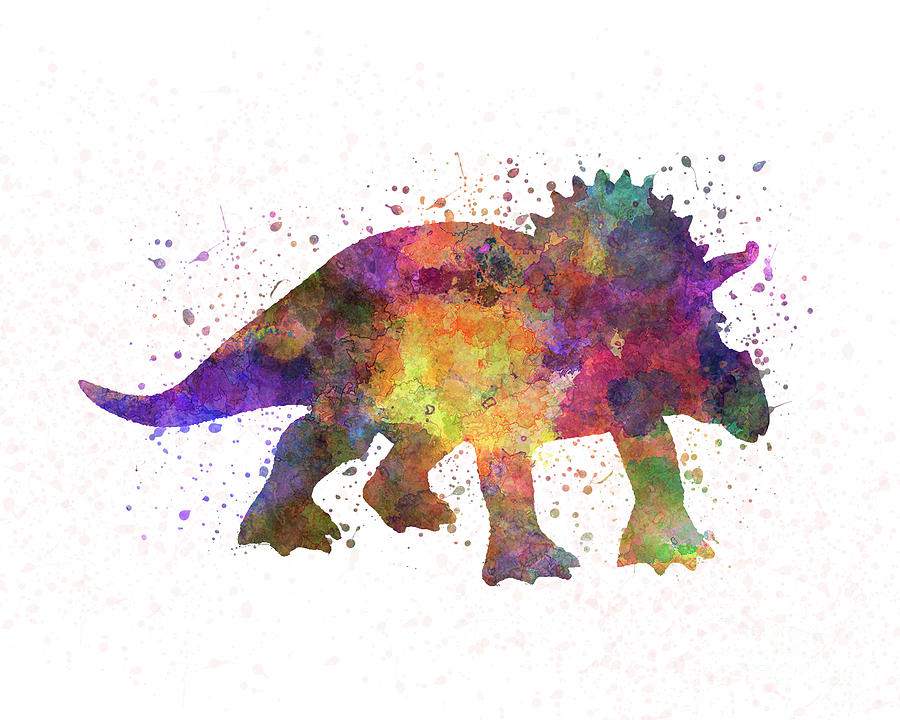 Triceratops dinosaur in watercolor by Pablo Romero