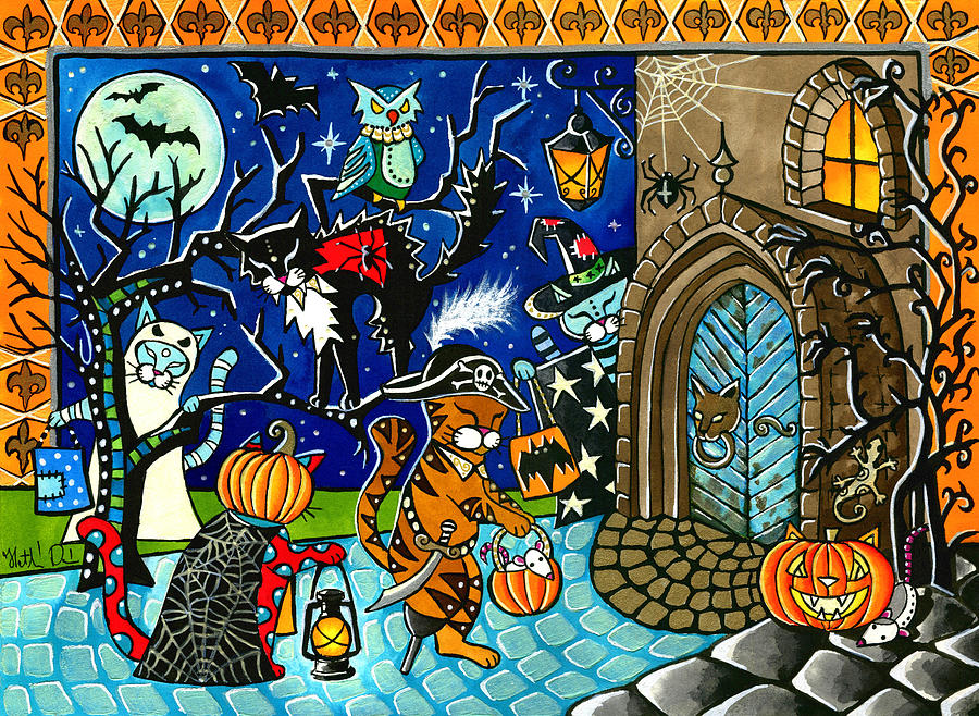Trick Or Treat Painting - Trick Or Treat Halloween Cats by Dora Hathazi Mendes