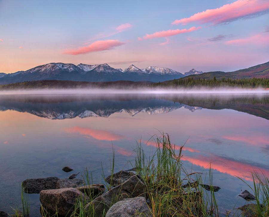 Mp Photograph - Trident Range From Pyramid Lake, Jasper by Tim Fitzharris