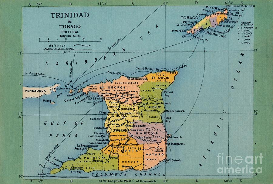 Trinidad & Tobago Map Drawing by Print Collector