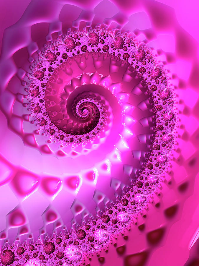 Trippy Pink Fractal Spiral Digital Art