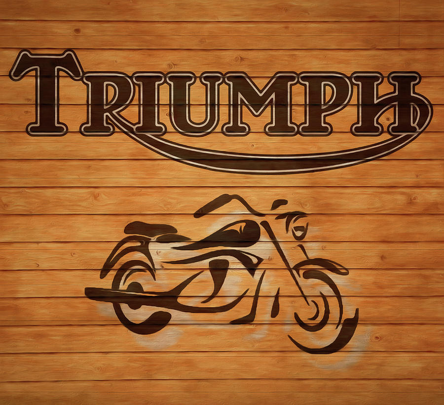 Triumph Motorcycle Barn Door Mixed Media