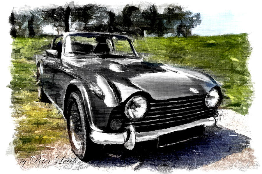 Triumph TR5 Monochrome with Brushstrokes by Peter Leech