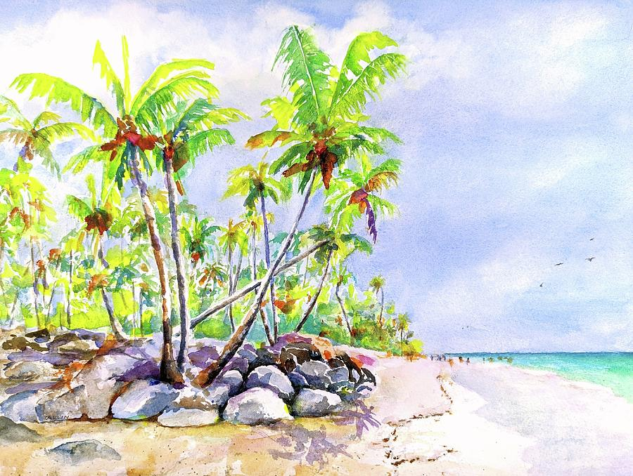 Tropical Beach Painting - Tropical Bavaro Beach Punta Cana Dominican Republic by Carlin Blahnik CarlinArtWatercolor