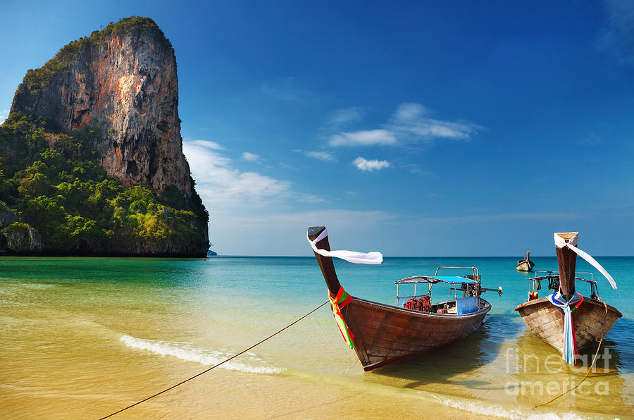 Andaman Photograph - Tropical Beach, Traditional Long Tail by Dmitry Pichugin
