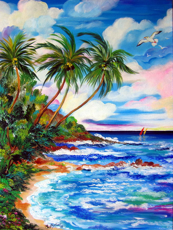Tropical Beach with Palms by Roberto Gagliardi