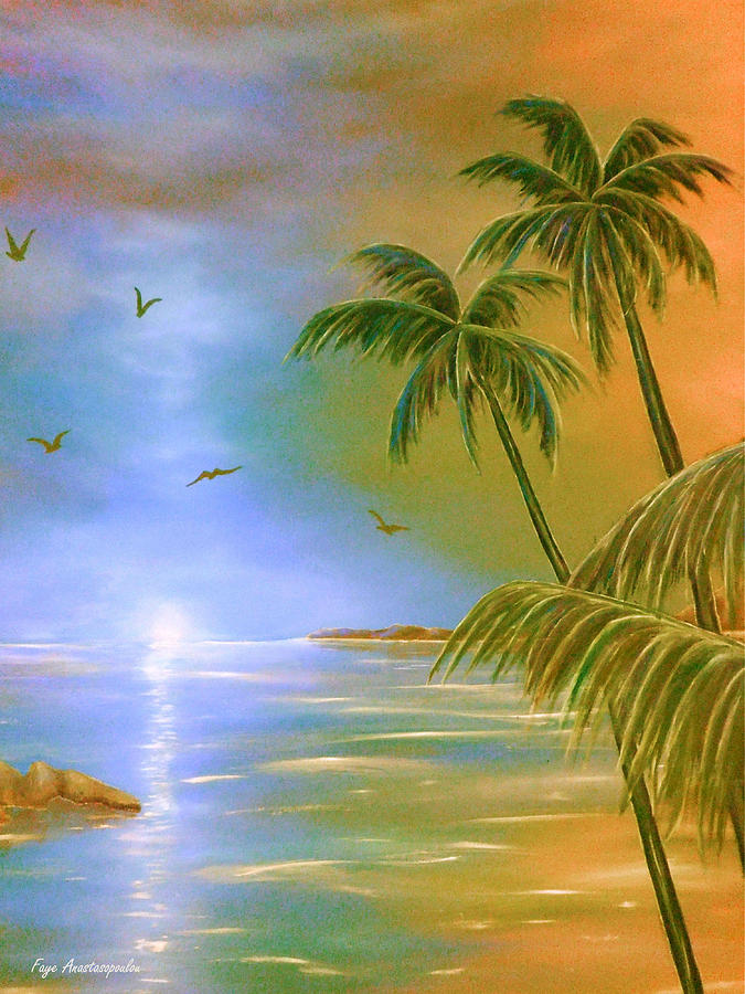 Tropical Painting - Tropical Breeze by Faye Anastasopoulou