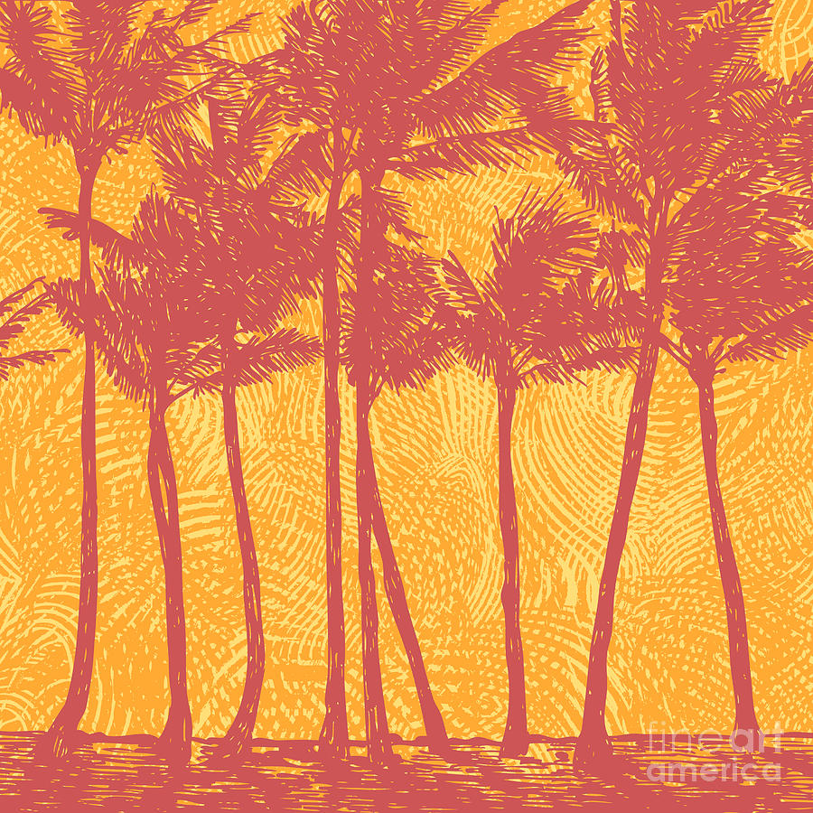 Palm Digital Art - Tropical Coast With Palms. Vector by Jumpingsack