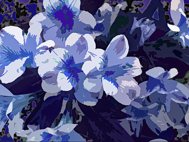Tropical Flowers Blue and White by Corinne Carroll