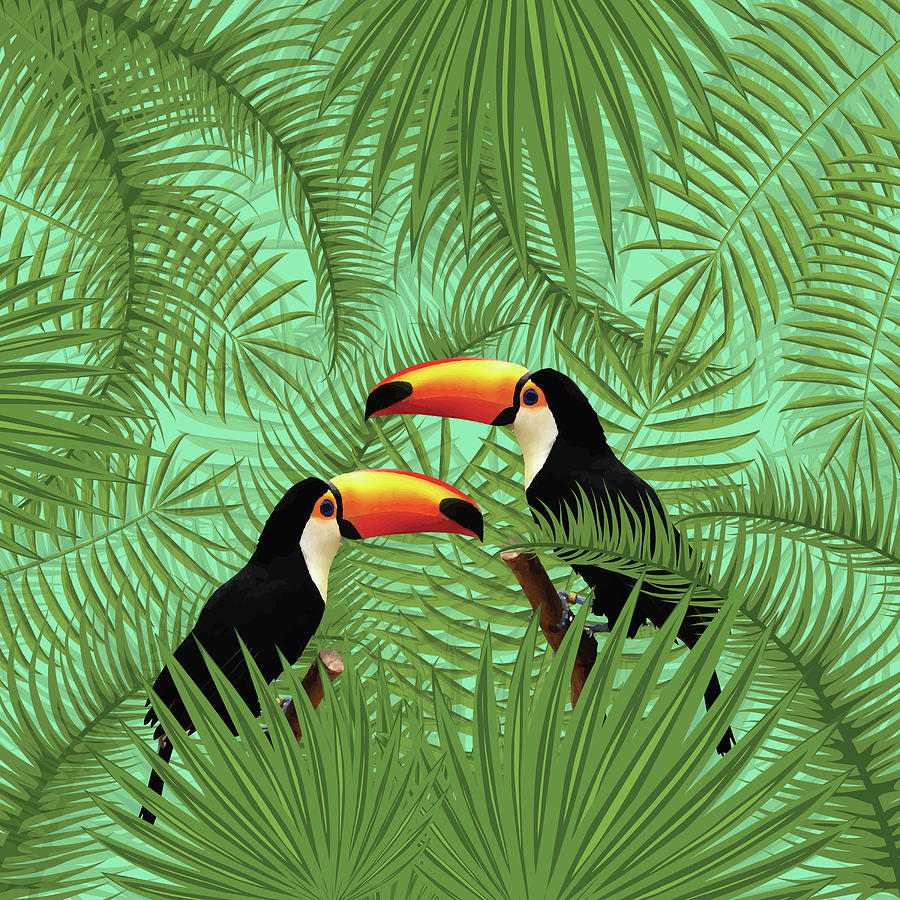 Tropical Mixed Media - Tropical Forest - Toucan birds - Tropical Palm Leaf Pattern - Leaf Pattern - Tropical Print 1 by Studio Grafiikka