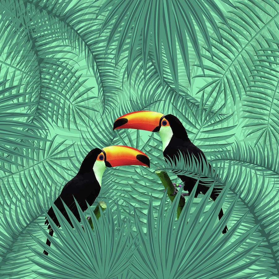 Tropical Forest - Toucan Birds - Tropical Palm Leaf Pattern - Leaf Pattern - Tropical Print 2 Mixed Media