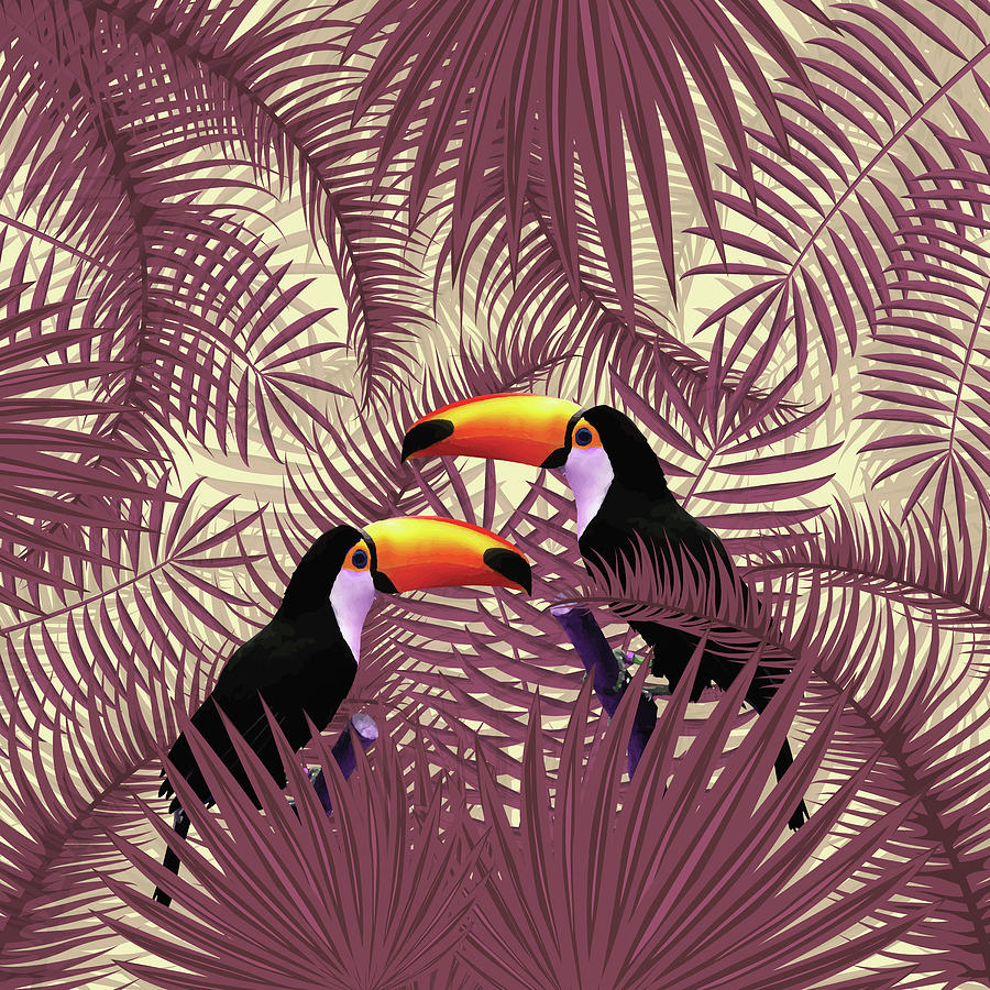 Tropical Forest - Toucan Birds - Tropical Palm Leaf Pattern - Leaf Pattern - Tropical Print 3 Mixed Media