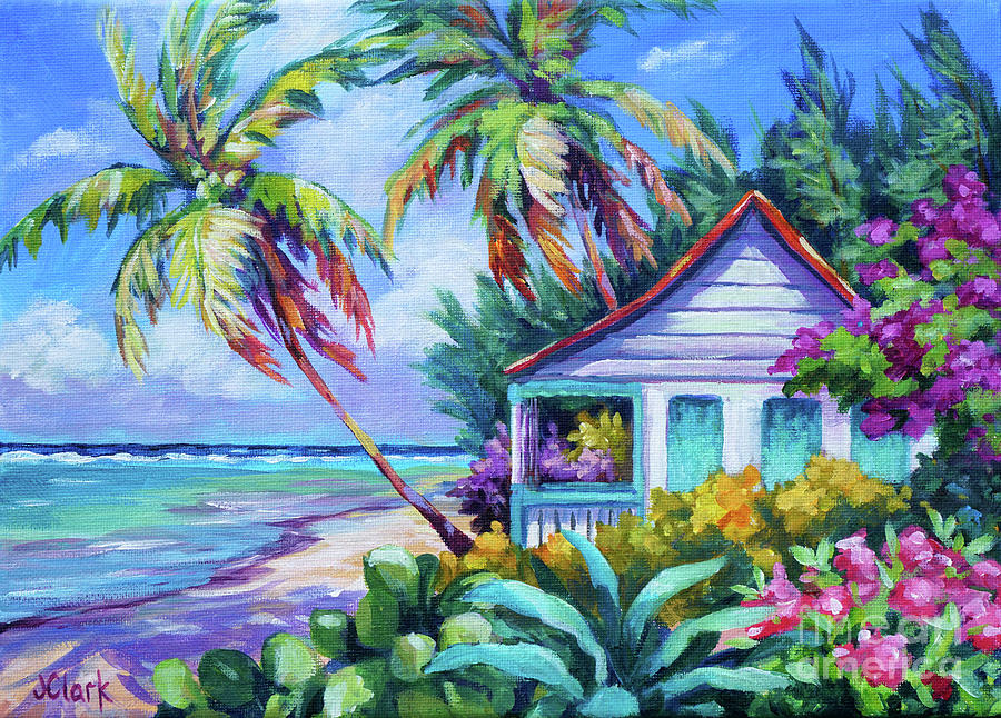 Cayman Painting - Tropical Island Cottage by John Clark
