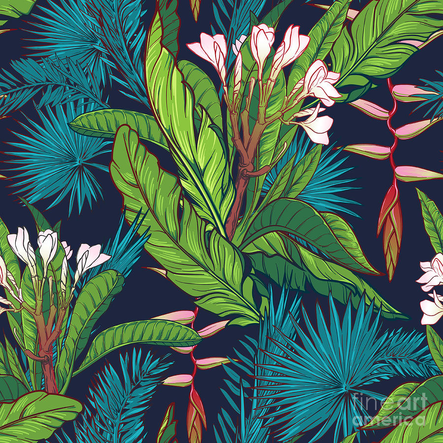Spring Digital Art - Tropical Jungle Seamless Pattern On by Antonpix
