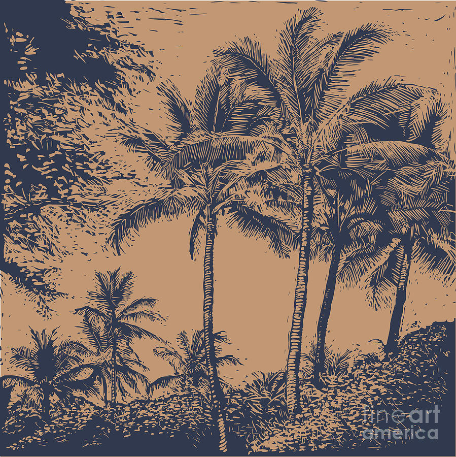 Palm Digital Art - Tropical Landscape With Palms Trees by Jumpingsack