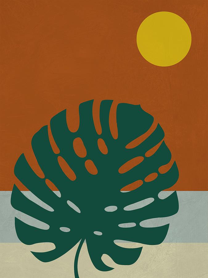 Tropical Leaf Mixed Media - Tropical Leaf And Blue Moon by Naxart Studio