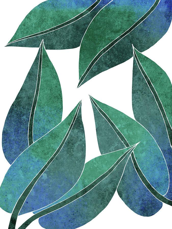 Tropical Leaf Illustration - Blue, Green - Botanical Art - Floral Design - Modern, Minimal Decor Mixed Media