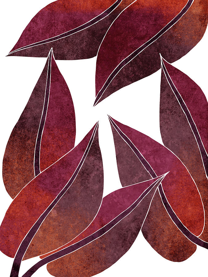 Tropical Leaf Illustration - Maroon, Red - Botanical Art - Floral Design - Modern, Minimal Decor Mixed Media