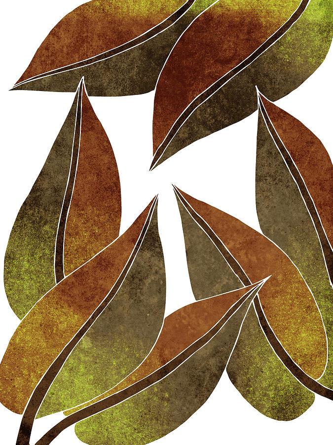Tropical Leaf Illustration - Yellow, Brown - Botanical Art - Floral Design - Modern, Minimal Decor Mixed Media