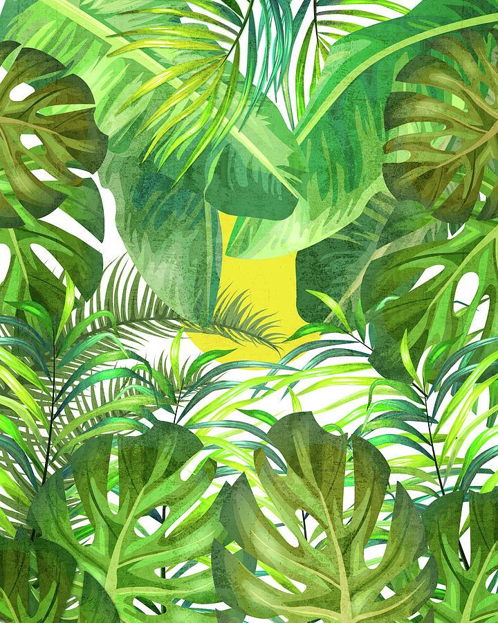 Tropical Leaf Pattern 01- Banana, Palm Leaf, Monstera Leaf - Green, Freshness, Tropical, Botanical Mixed Media