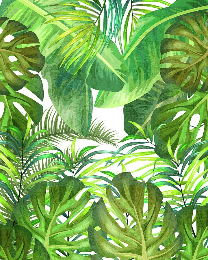Tropical Leaf Pattern 02- Banana, Palm Leaf, Monstera Leaf - Green, Freshness, Tropical, Botanical Mixed Media