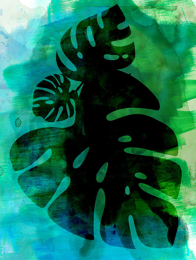 Tropical Leaf Mixed Media - Tropical Monstera Leafs Watercolor by Naxart Studio