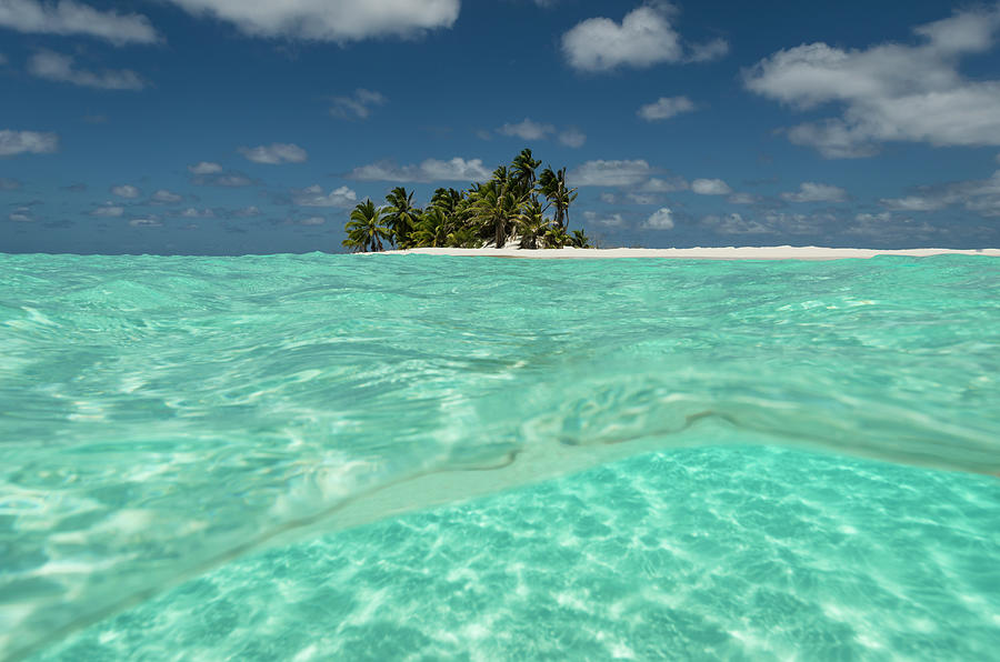 Tropical Palm-covered Island And Atoll Photograph by Pete Atkinson
