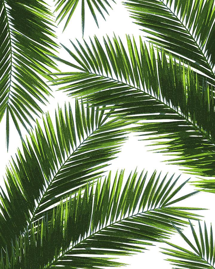 Tropical Mixed Media - Tropical Palm Leaf Pattern 1 - Tropical Wall Art - Summer Vibes - Modern, Minimal - Green by Studio Grafiikka