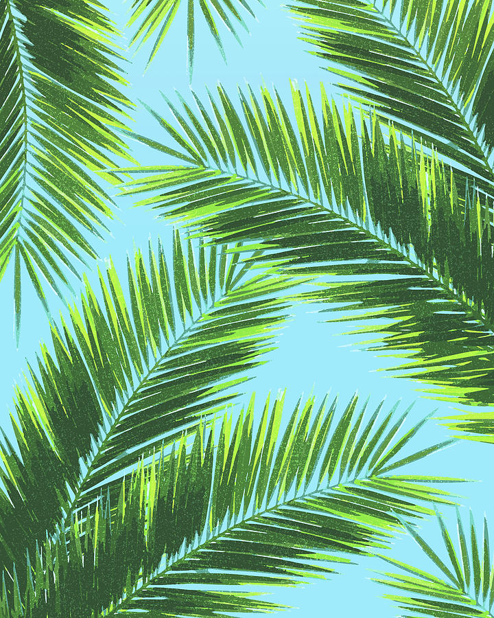Tropical Palm Leaf Pattern 2 - Tropical Wall Art - Summer Vibes - Modern, Minimal - Green, Blue Mixed Media