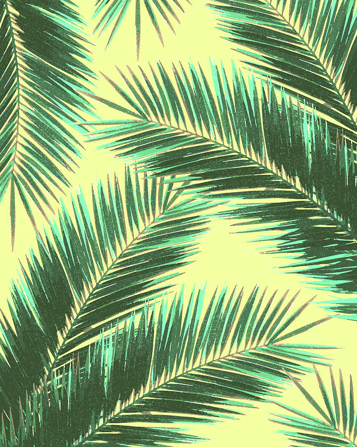 Tropical Palm Leaf Pattern 3 - Tropical Wall Art - Summer Vibes - Modern, Minimal - Green, Beige Mixed Media