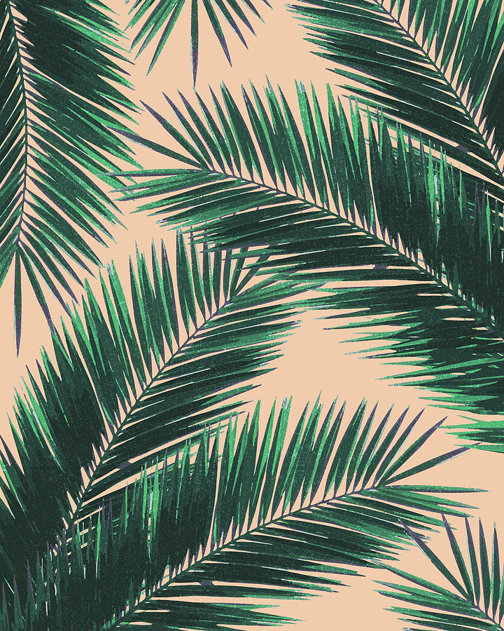 Tropical Palm Leaf Pattern 4 - Tropical Wall Art - Summer Vibes - Modern, Minimal - Green, Peach Mixed Media