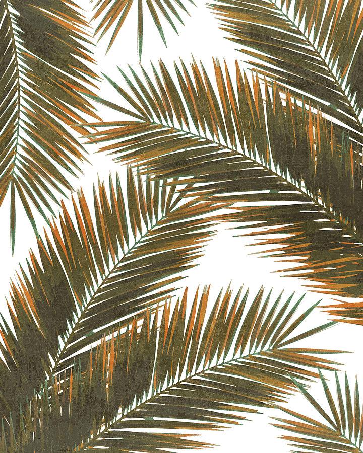 Tropical Mixed Media - Tropical Palm Leaf Pattern 6 - Tropical Wall Art - Summer Vibes - Modern, Minimal - Brown, Copper by Studio Grafiikka
