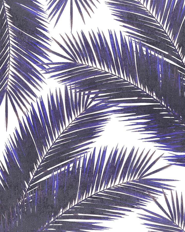 Tropical Palm Leaf Pattern 7 - Tropical Wall Art - Summer Vibes - Modern, Minimal - Purple, Violet Mixed Media