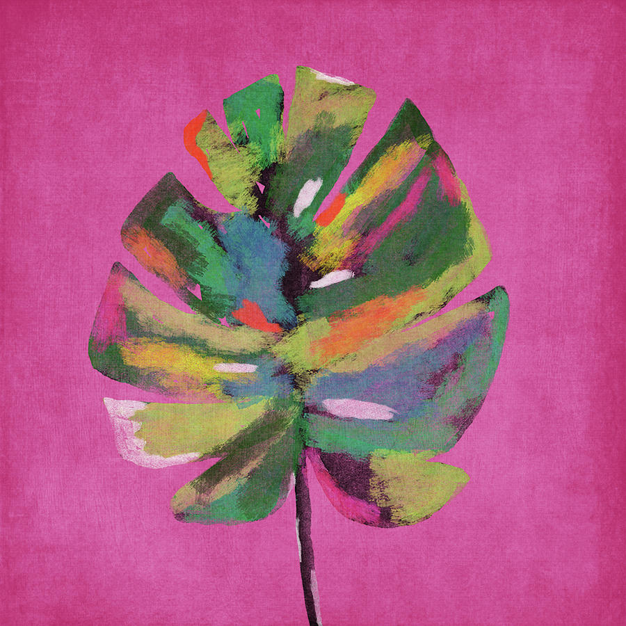 Tropical Painting - Tropical Palm Leaf Pink- Art by Linda Woods by Linda Woods