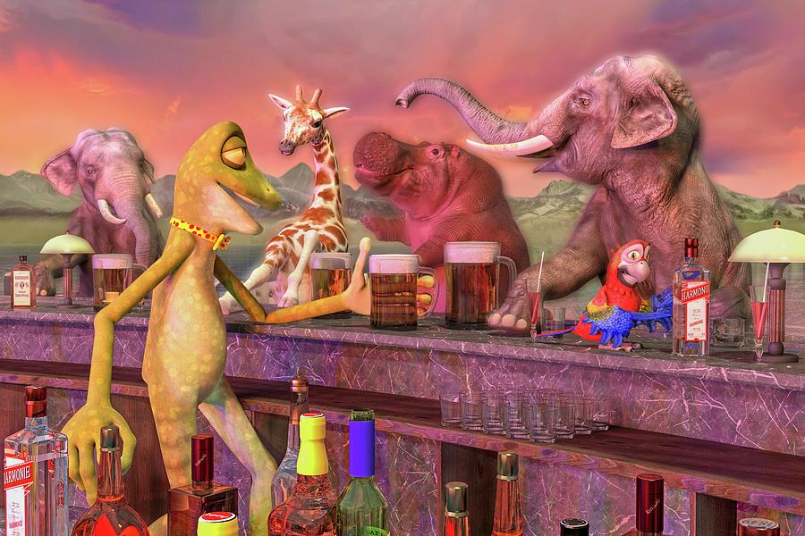 Tropical Digital Art - Tropical Paradise Sunset Bar by Betsy Knapp