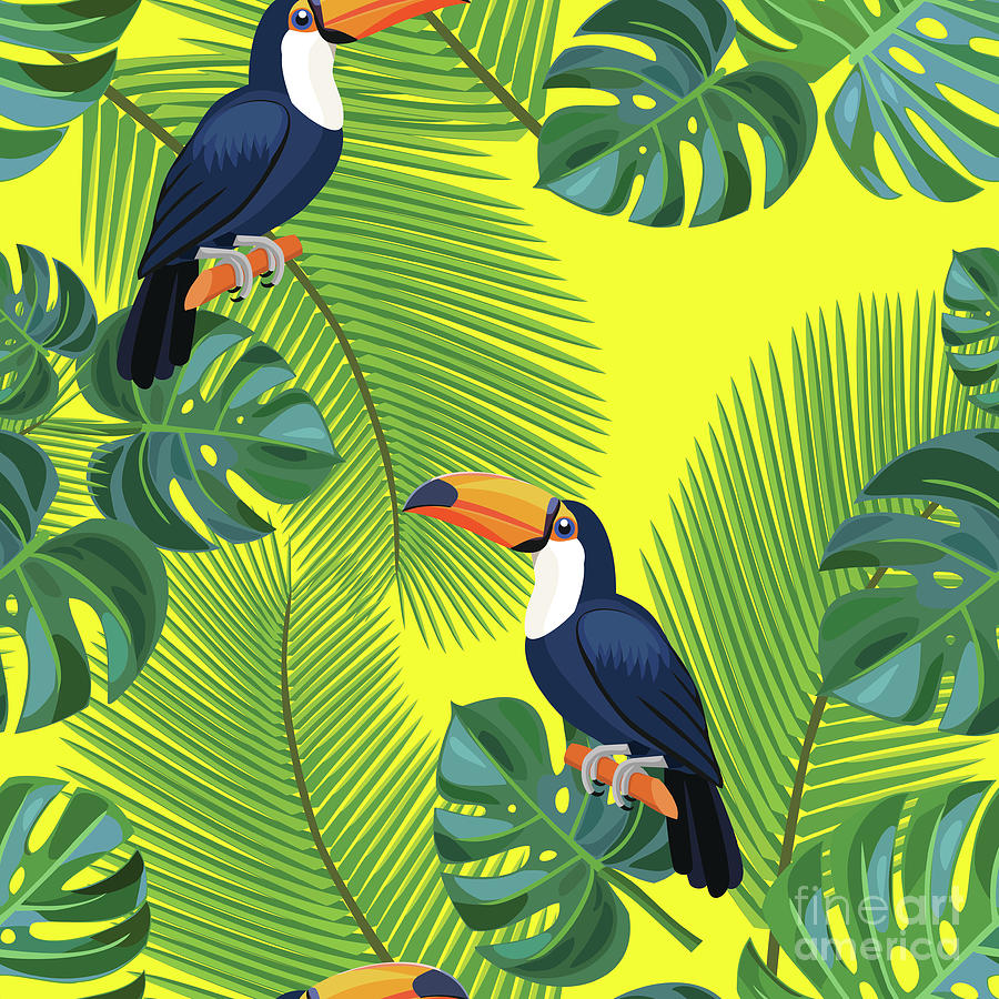 Tropical Pattern With Toucan Birds Digital Art by Taisiia Iaremchuk