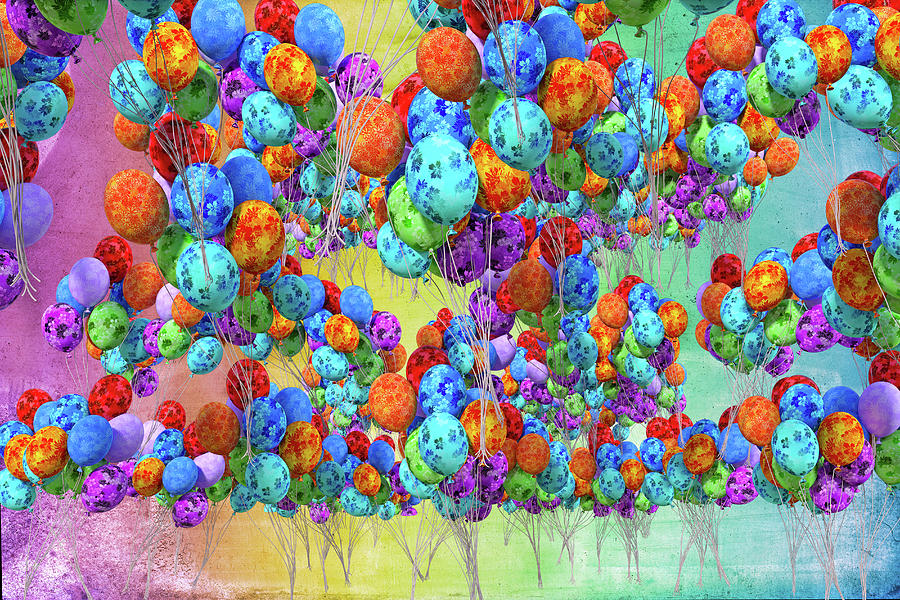 Balloon Digital Art - Tropical Print Balloons by Betsy Knapp
