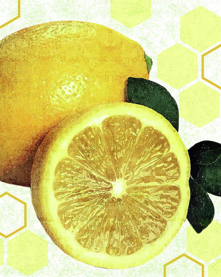 Tropical Print - Lemon - Fruit - Yellow, Green - Modern Wall Art Print - Tropical Poster Mixed Media