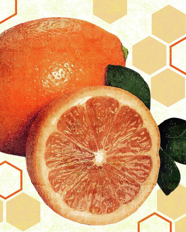Tropical Print - Orange, Grapefruit, Tangerine - Modern Wall Art Print - Tropical Poster Mixed Media